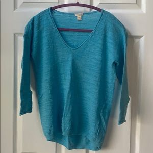 J crew turquoise v neck summer sweater